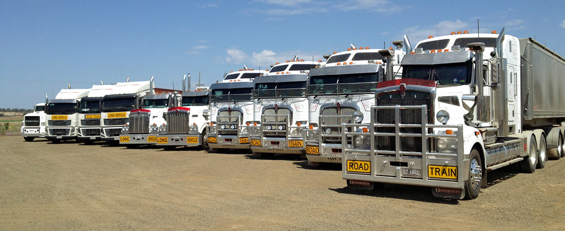 Line-up of some of Grainhart's road transport capability