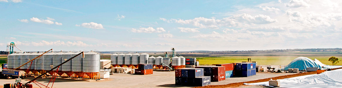 View of Grainhart's Darling Downs Bulk Grain Transport facilities